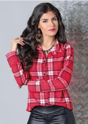 Camisa manga longa xadrex vermelha moda pop