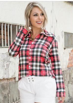 camisa feminina xadrex moda pop vermelha