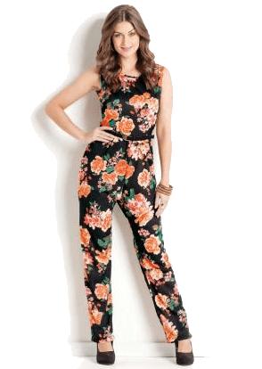 Macacão decote redondo floral moda pop