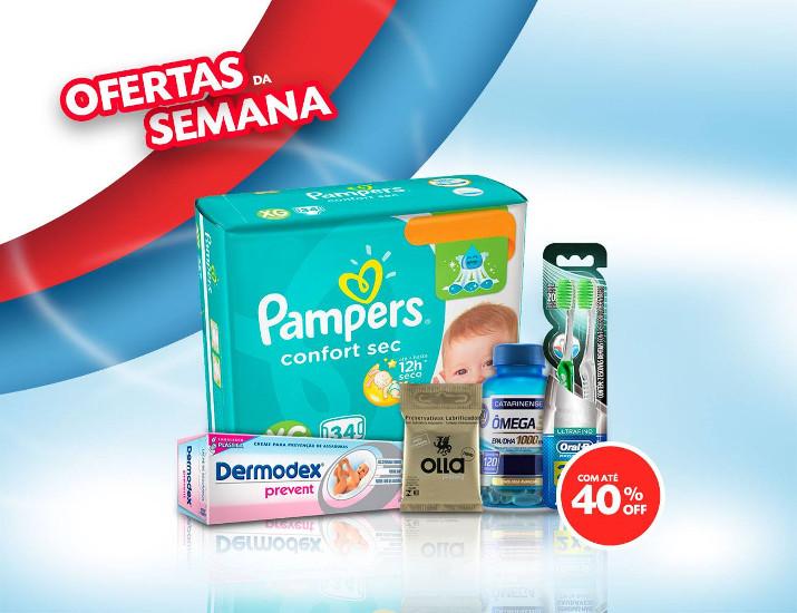 Exemplo de produtos já anunciados nas ofertas da semana da Drogarias Pacheco: produtos para bebês, desodorante, lâmina de barbear, preservativos e muito mais com até 40% de desconto