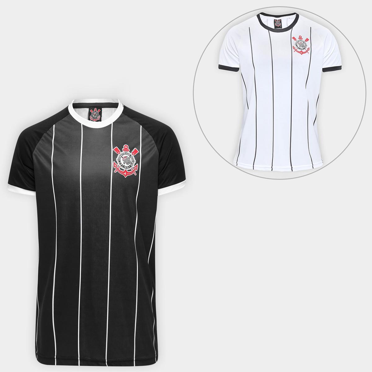 Cupom de desconto - 46% OFF em Super Kit Corinthians Fenomenal - Camisa I + Camisa II - Branco e Preto
