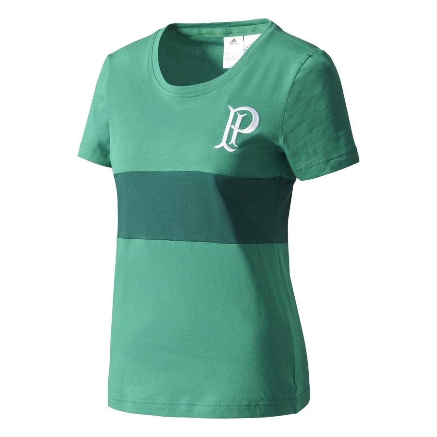 Cupom de desconto - 46% OFF em Camiseta Feminina Adidas Palmeiras - Verde e Branco