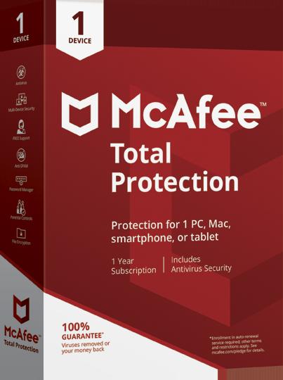 Cupom de desconto - 32% OFF no produto MC Afee Total Protection 1 - Protegido